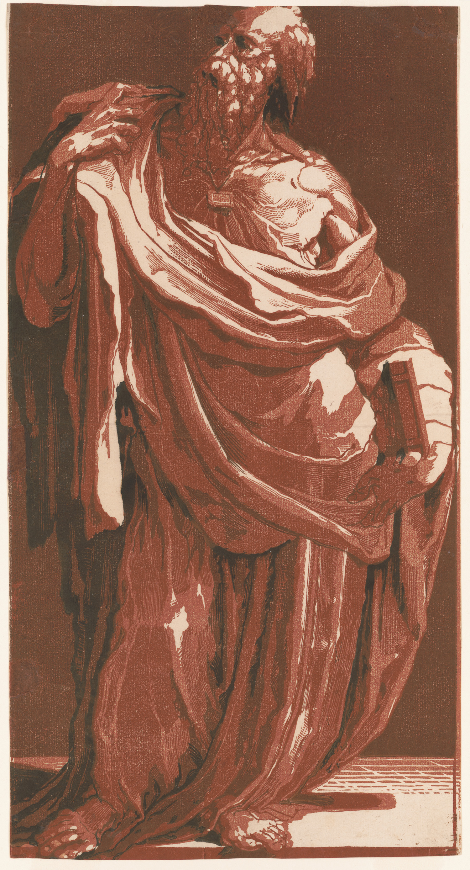 Apostle with a Book. Chiaroscuro woodcut from 4 blocks by Domenico Beccafumii, circa 1540s. http://hdl.loc.gov/loc.pnp/ppmsca.15542