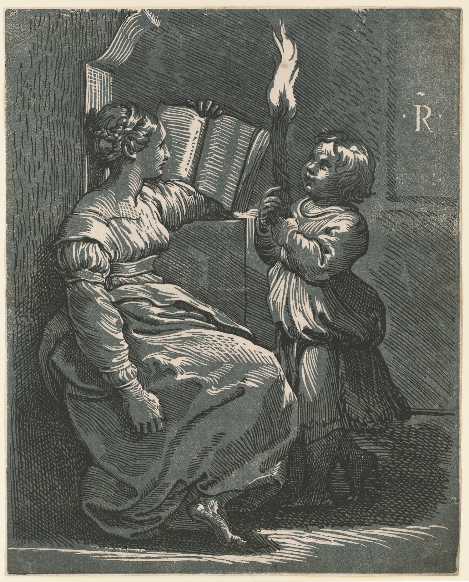Sibyl Reading. Chiaroscuro woodcut from 2 blocks, circa 1517-18. Attributed to Ugo da Carpi. http://hdl.loc.gov/loc.pnp/ppmsca.18658
