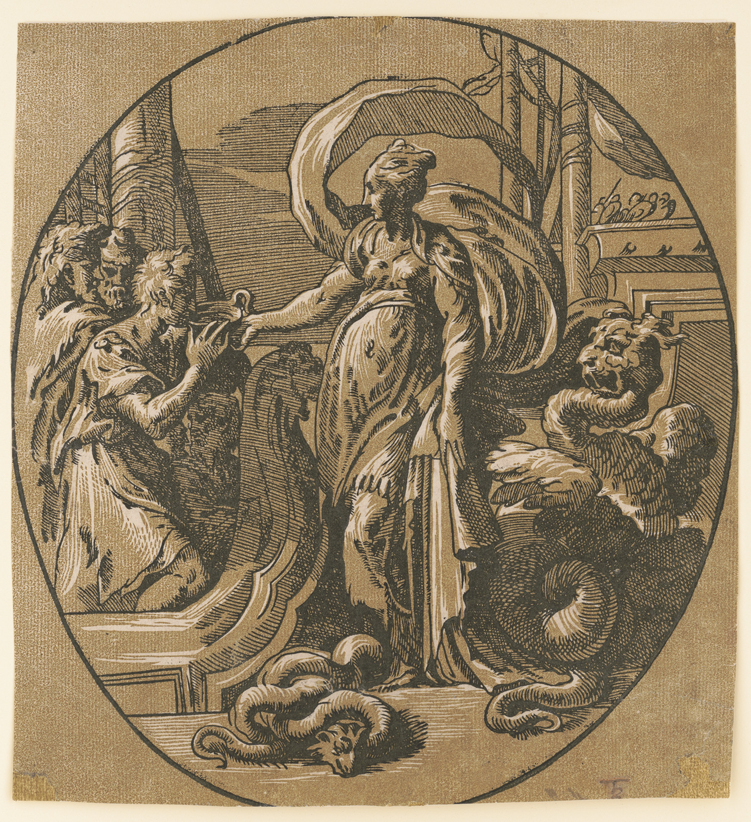 <em>Circe Giving Drink</em>. Chiaroscuro woodcut from 2 blocks, attributed to Antonio da Trento, after Parmigianino, circa 1540s. http://hdl.loc.gov/loc.pnp/ppmsca.18707