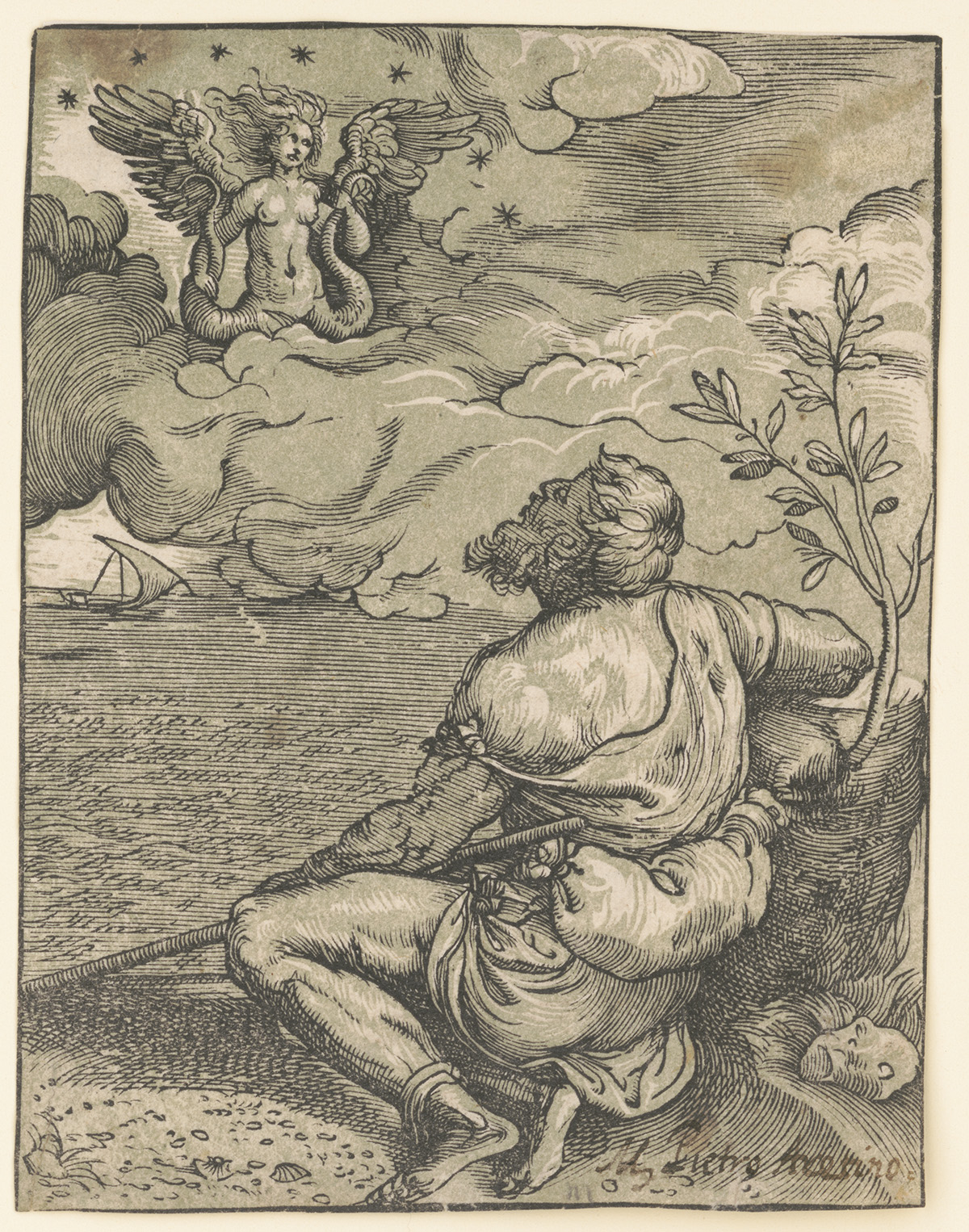Poet and the Siren. Chiaroscuro woodcut from 2 blocks by anonymous Venetian, after Titian, circa 1537. //hdl.loc.gov/loc.pnp/ppmsca.18730