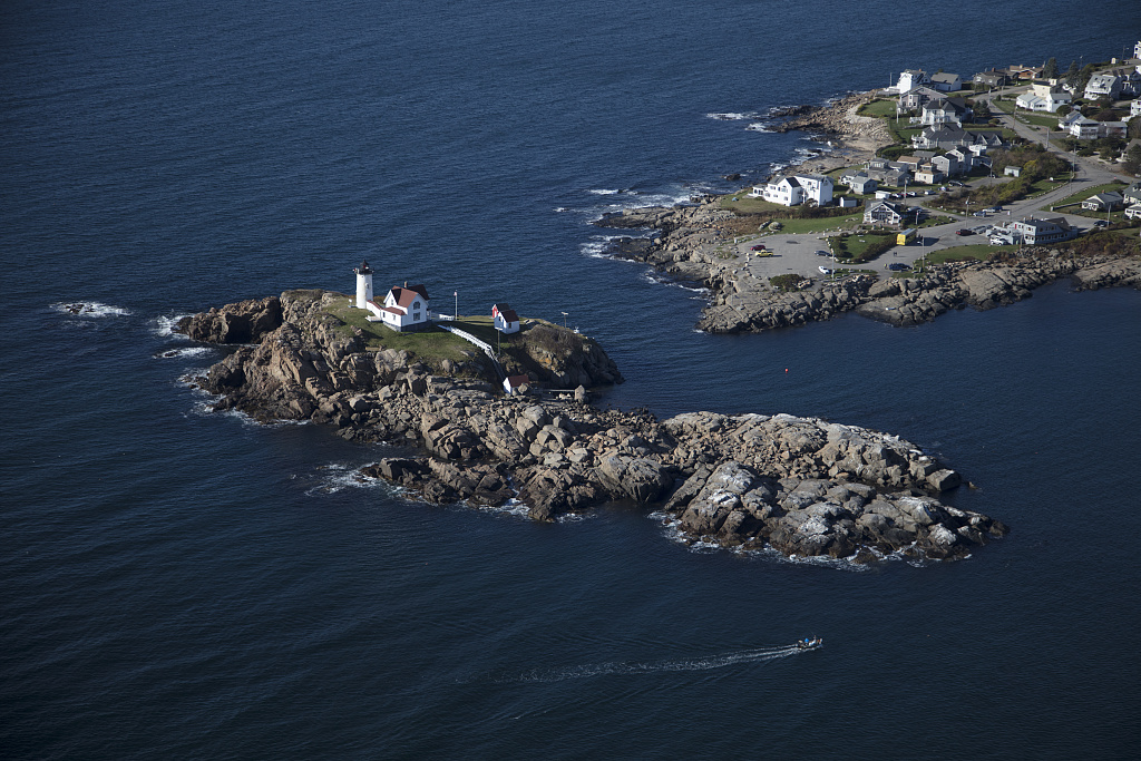 "An October 2017 aerial view of the Cape Neddick Lighthouse, better known as the ""Nubble Light,"" off Wells, Maine. Photo by Carol M. Highsmith, 2017 Oct. 18. //hdl.loc.gov/loc.pnp/highsm.46611"