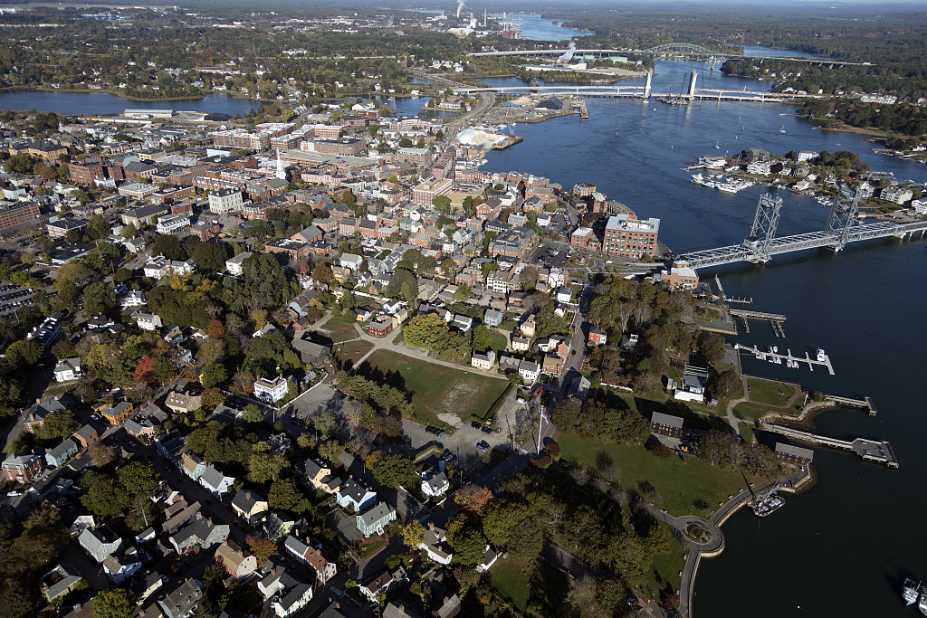 Aerial view of a portion of Portsmouth, New Hampshire. Maine, right, lies across the Piscataqua River. Photo by Carol M. Highsmith, 2017 Oct. 18. //hdl.loc.gov/loc.pnp/highsm.48361