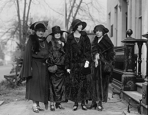 Four unidentified women at equal rights conference at Woman's Party, 11/11/22. Photo by National Photo Company, 1922, Nov. 11. //hdl.loc.gov/loc.pnp/npcc.07325