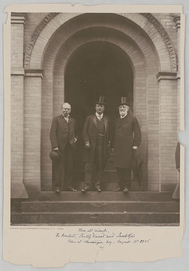 Three old friends. The President, Bishop Vincent and Jacob Riis taken at Chautauqua NY, August 11th 1905. Photo by Underwood and Underwood, 1905. //hdl.loc.gov/loc.pnp/ppmsca.39534