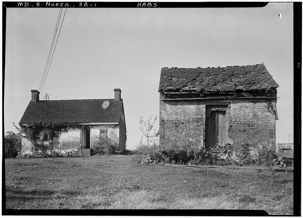 "HOME OF THOMAS RUSSELL ONE OF THE FOUNDERS OF THE PRINCIPIO COMPANY. SLAVE QUARTERS AND WOOD HOUSE. - Green Hill, Slave Quarters & Woodhouse, State Route 7, North East, Cecil County, MD. Photo by E. H. Pickering, 1936 Oct. http://hdl.loc.gov/loc.pnp/hhh.md0360/photos.087143p Part of <a href=""//www.loc.gov/pictures/collection/hh/item/md1021/"" target=""_blank"" rel=""noopener"">HABS MD,8-NOREA,3A--1</a>"