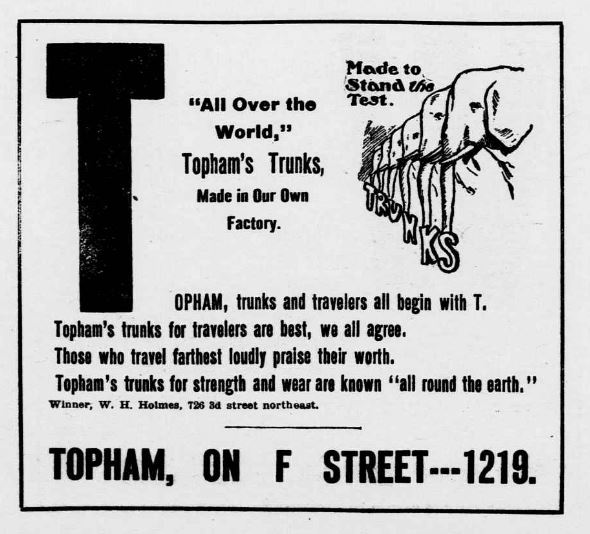Topham from Alphabet Story of Famous Stores Told in Jingles. Detail of Washington Evening Star, Oct. 5, 1907, p. 8. //chroniclingamerica.loc.gov/lccn/sn83045462/1907-10-05/ed-1/seq-8/