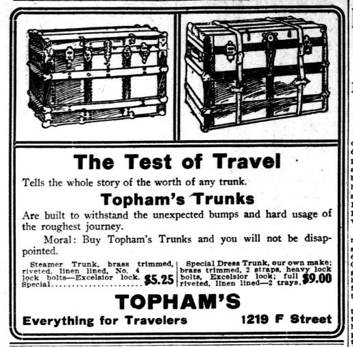 Advertisement for Topham's. Detail from Washington Herald, May 18, 1911, p. 12. //chroniclingamerica.loc.gov/lccn/sn83045433/1911-05-18/ed-1/seq-12/