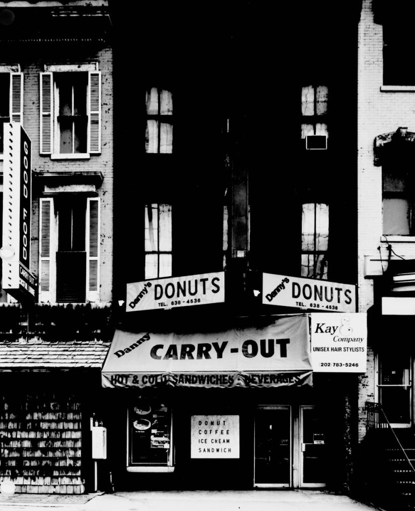 Danny's Donuts and other stores at 11th and E Streets, N.W., Washington, D.C., photographed before they were demolished to make way for new buildings . Carol M. Highsmith, //hdl.loc.gov/loc.pnp/highsm.18249