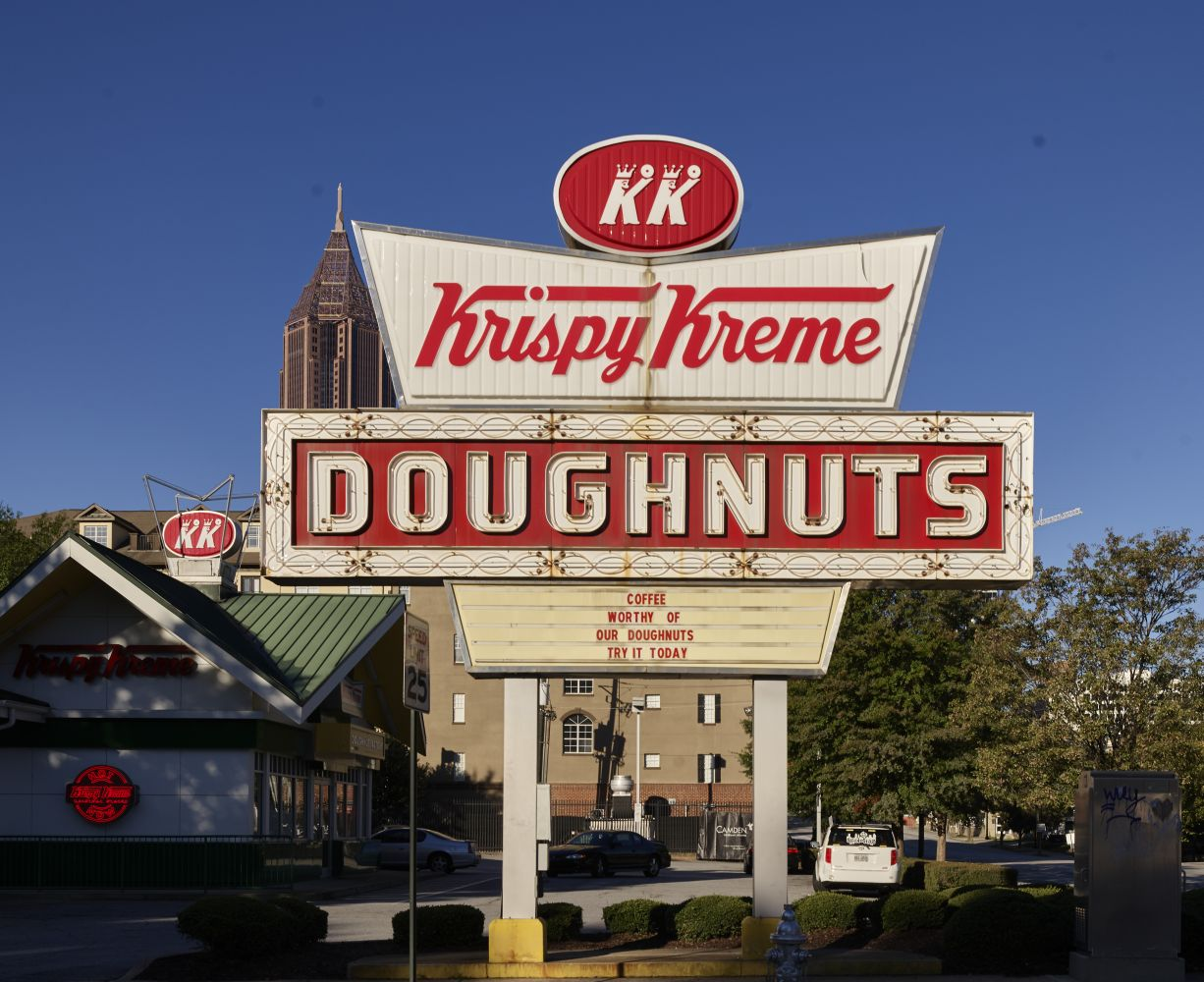 Sign for the neighborhood Krispy Kreme... in Atlanta, Georgia. Photo by Carol M. Highsmith, 2017. //hdl.loc.gov/loc.pnp/highsm.47115