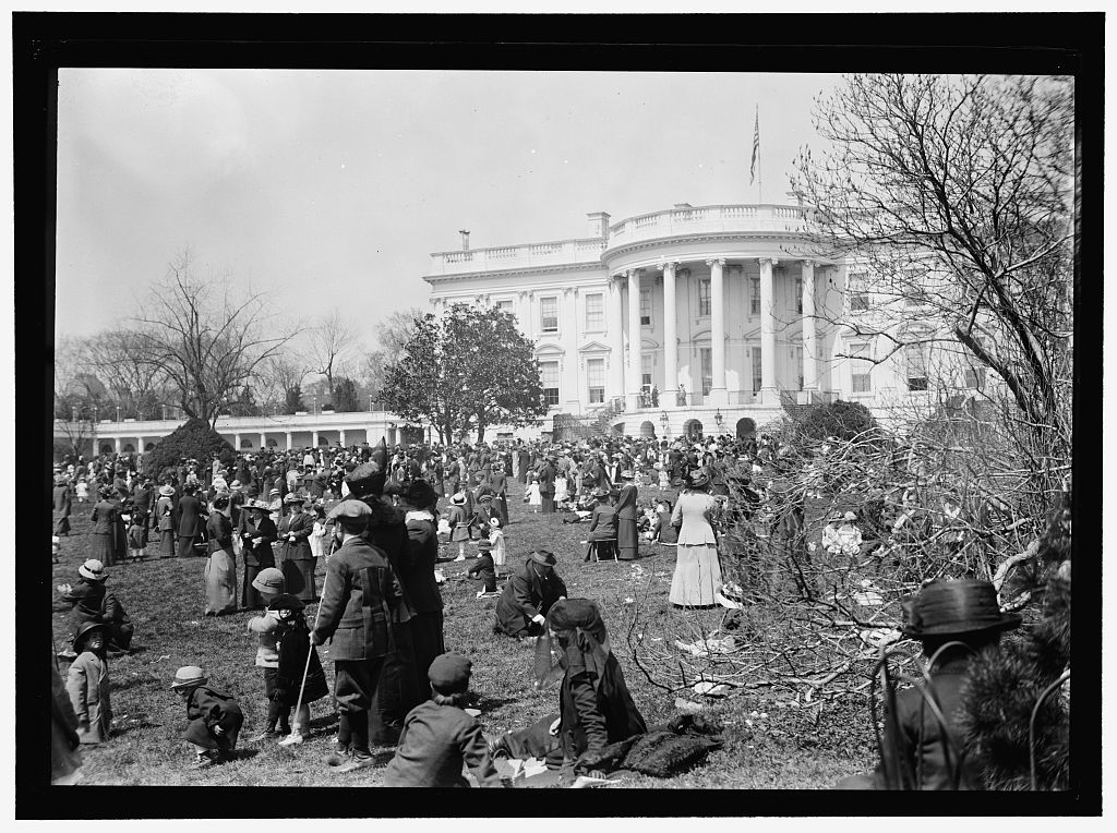 EASTER EGG ROLLING, WHITE HOUSE. Photo by Harris & Ewing, 1914. http://hdl.loc.gov/loc.pnp/hec.03961