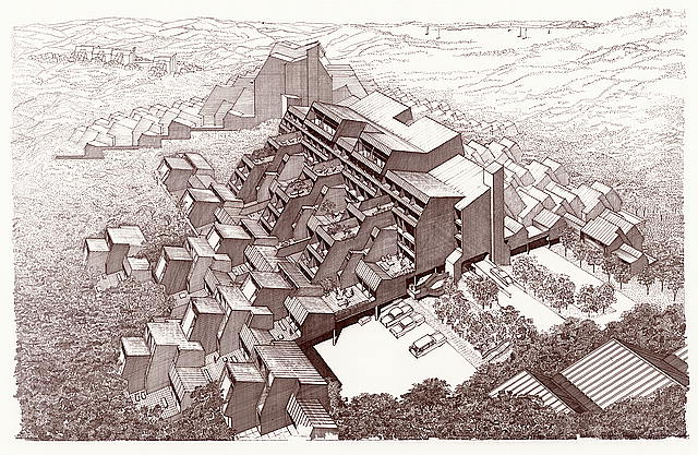 Resort community, Stafford Harbor, Virginia (project). Hills, bird's-eye perspective. Drawing by Paul M. Rudolph, 1970, from drawing made by 1966.