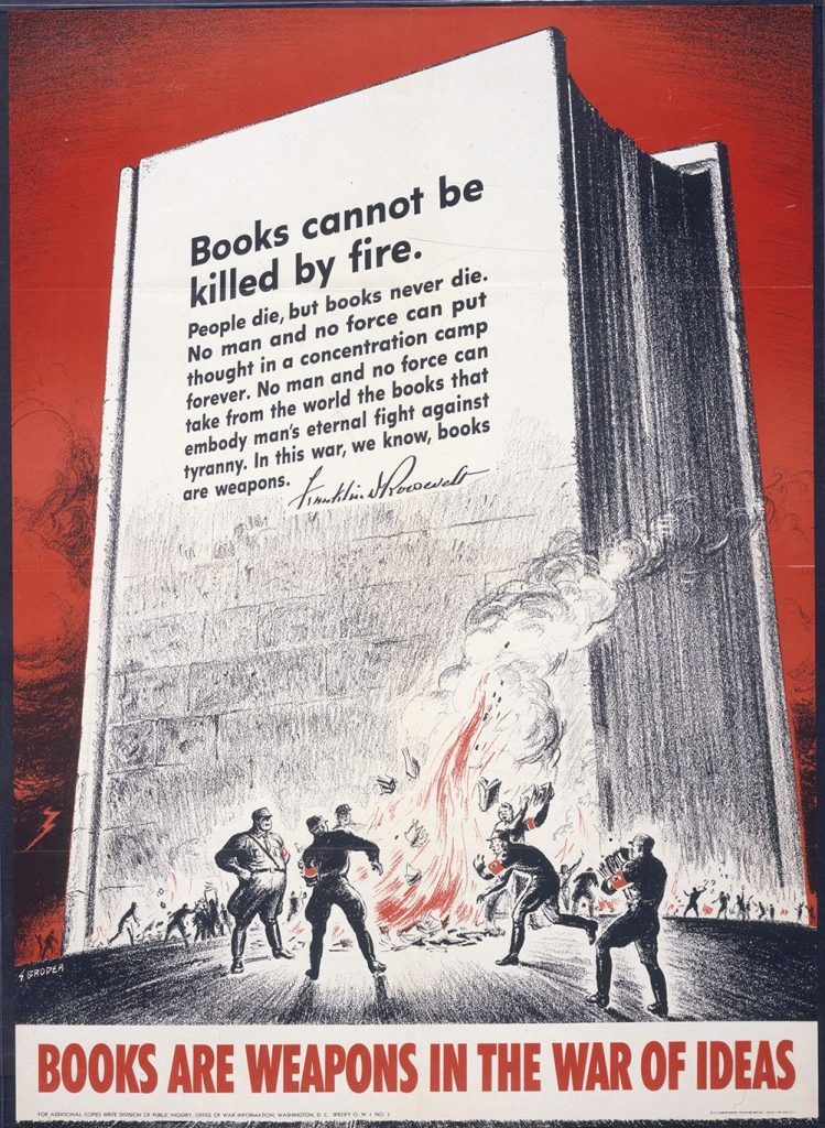 <em>Books are weapons in the war of ideas.</em> Poster by S. Broder, U.S. Government Printing Office, 1942. //hdl.loc.gov/loc.pnp/cph.3g04267