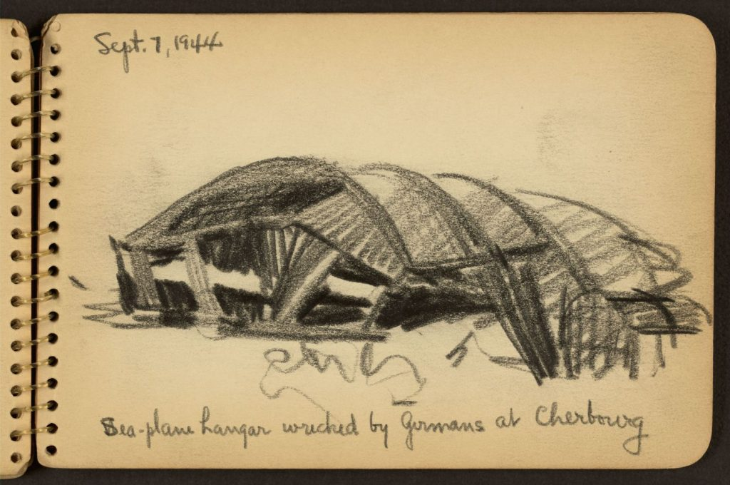 <em>Sea-plane hangar wrecked by Germans at Cherbourg.</em> Drawing by Victor Lundy, 1944. //hdl.loc.gov/loc.pnp/ppmsca.24251