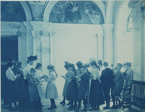 A field trip to the Library of Congress. Photo (cyanotype print) by Frances Benjamin Johnston, 1899? //hdl.loc.gov/loc.pnp/ds.00817