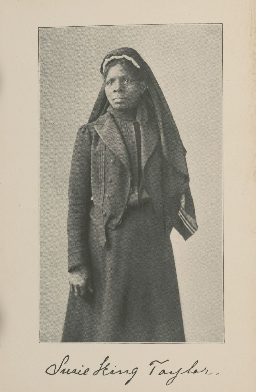 Susie King Taylor, known as the first African American Army nurse. Frontispiece of Reminiscences of My Life in Camp. Published, 1902. //hdl.loc.gov/loc.pnp/ppmsca.57593