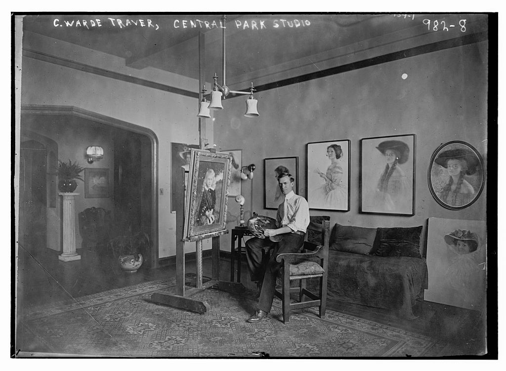 Painting studio of C. Warde Traver, Central Park, New York. Photo by Bain News Service. //hdl.loc.gov/loc.pnp/ggbain.04549