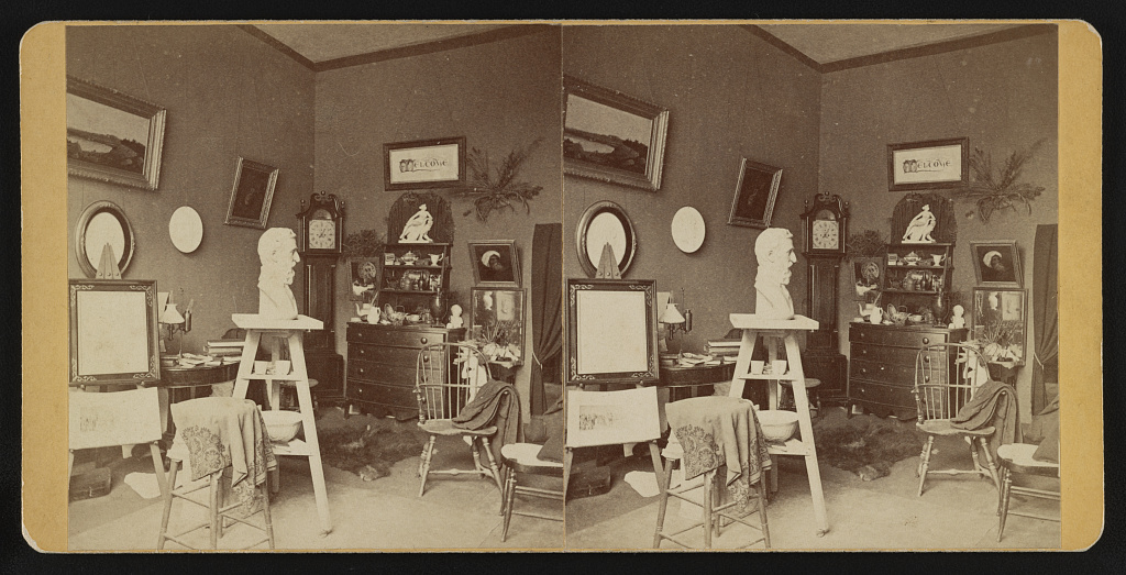 [Sculptor Walton Ricketson's art studio, New Bedford, Mass.] Photo by Thomas E.M. White, between 1860 and 1900. //hdl.loc.gov/loc.pnp/stereo.1s08561