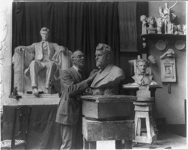 Daniel C. French in the Chesterwoord studio working on the bust of Ambrose Swasey. Photo by Swasey, 1922. //hdl.loc.gov/loc.pnp/cph.3a44827