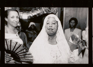 8th Anniversary: Voodoo altar to the Loas, and dance for high priestess, Mambo Angela. Detail of photo contact sheet by Roland L. Freeman, 1989 Oct. 28. //www.loc.gov/pictures/item/2020633674/