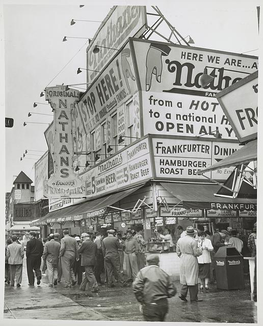 Nathan's Hot Dogs from boardwalk... Photo by Al Ravenna, 1954. //hdl.loc.gov/loc.pnp/ds.05430