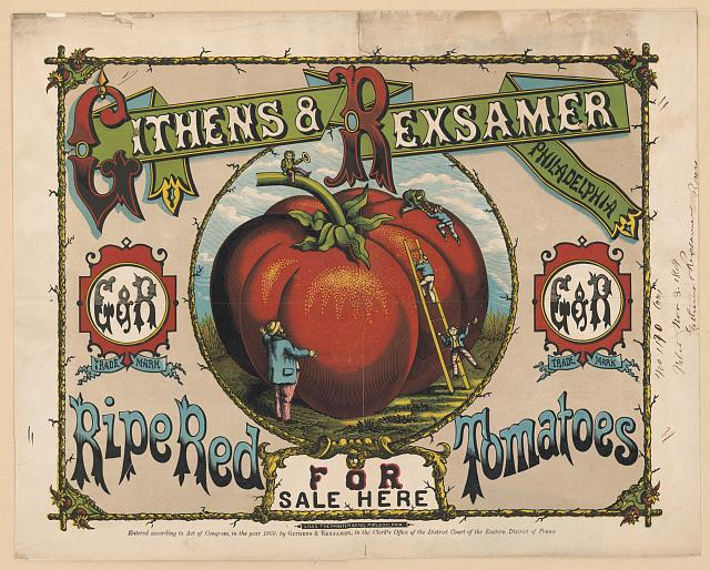 Ripe red tomatoes for sale here. Color woodcut, copyrighted 1869. //hdl.loc.gov/loc.pnp/pga.11532