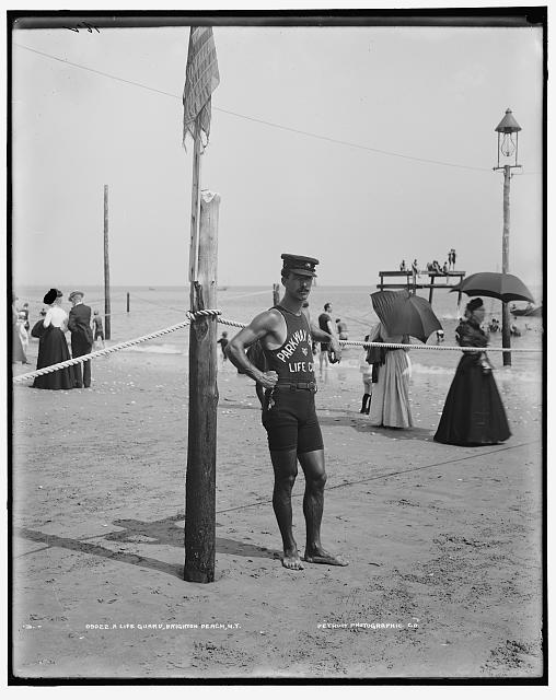 A Life guard, Brighton Beach, N.Y. Photo by Detroit Publishing Co., between 1901 and 1906. //hdl.loc.gov/loc.pnp/det.4a05566
