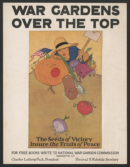 War gardens over the top. The seeds of victory insure the fruits of peace. Poster by Maginel Wright Enright, 1919? //hdl.loc.gov/loc.pnp/ppmsca.50988