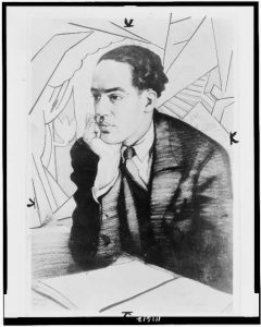 Langston Hughes, half-length portrait, seated, facing right, with right hand under chin. Photo of drawing by Winold Reiss, 1927. //www.loc.gov/pictures/item/94507692/