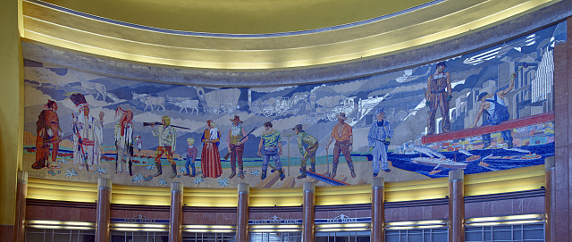 One of four large but intricate mosaic-tile murals inside the Cincinnati Museum Center at Union Terminal, built in 1933 as Cincinnati Union Terminal, a passenger railroad station in the Queensgate neighborhood. Photo by Carol M. Highsmith, 2016. //hdl.loc.gov/loc.pnp/highsm.42174