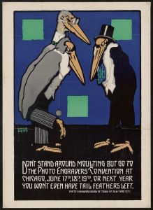 Graphic design for Photo Engravers Convention, Chicago. Poster featuring cartoon-like storks. Poster designed by Winold Reiss, circa 1915. //hdl.loc.gov/loc.pnp/ppmsca.64515