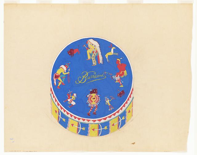 Graphic design drawings for Barricini Candy packages. 3-D Study, circular candy box with Indian motif on blue background. Drawing by Winold Reiss, 1948. //hdl.loc.gov/loc.pnp/ppmsca.64582