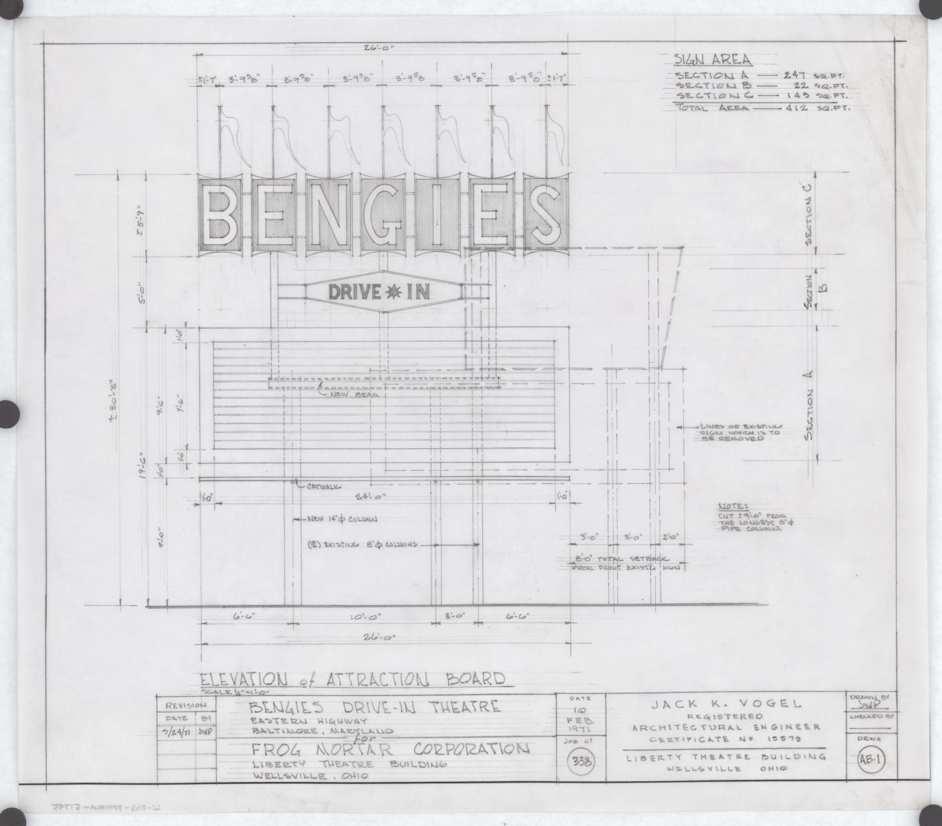 Bengies Drive-In Theatre, 3417 Eastern Ave., Middle River, Maryland. Attraction board. Elevation. Drawing by Jack K. Vogel, 1971. //hdl.loc.gov/loc.pnp/ppmsca.51795