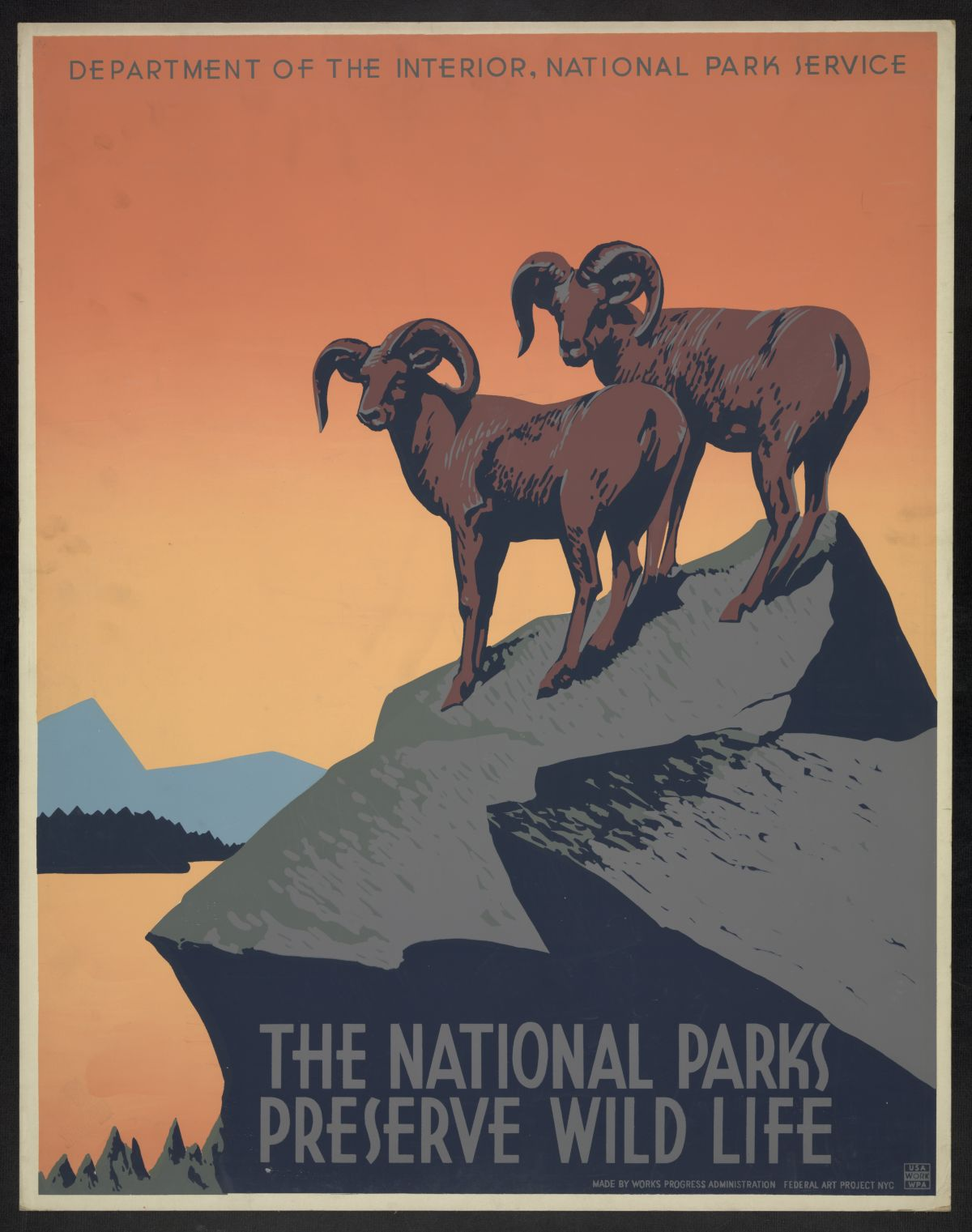 The national parks preserve wild life. Poster by NYC : Works Progress Administration Federal Art Project, between 1936 and 1939. //hdl.loc.gov/loc.pnp/ppmsca.23061