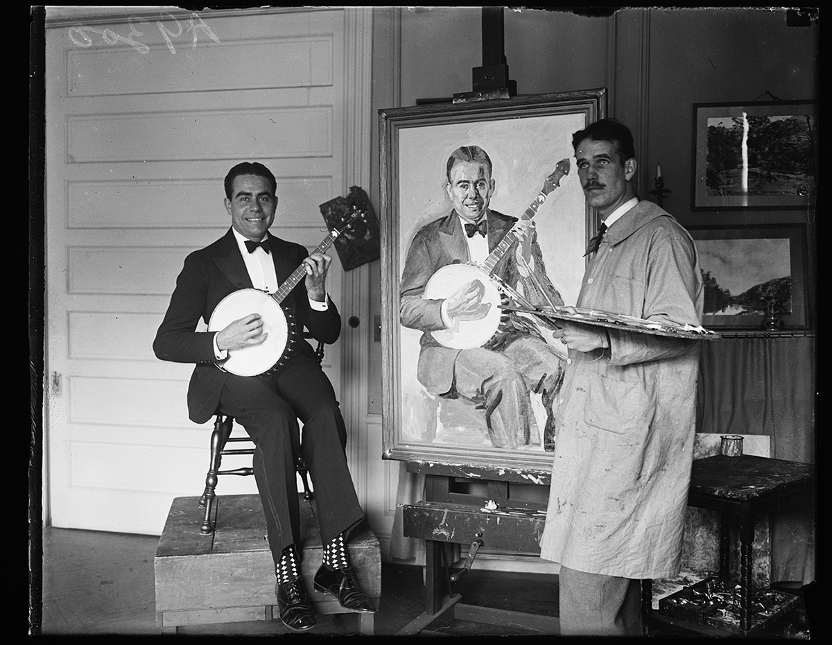 [Artist painting man with banjo]