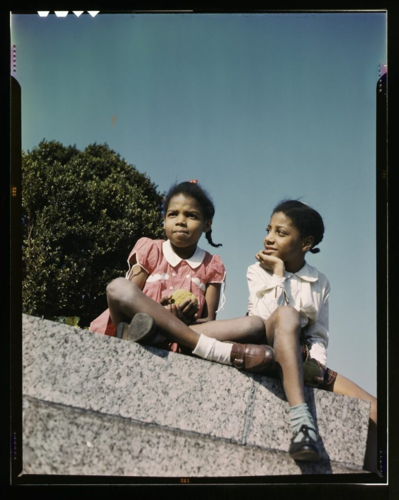 Two little girls in a park near Union Station, Washington, D.C. 1943. //hdl.loc.gov/loc.pnp/fsac.1a35457