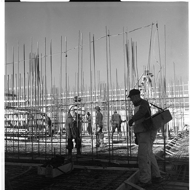 Workmen standing among vertical metal bars