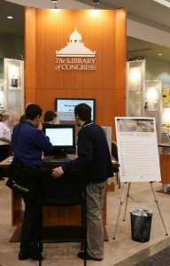 Library of Congress staff members working with teachers at a conference