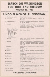 March on Washington for Jobs and Freedom - Lincoln Memorial Program, August 28, 1963