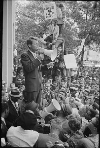 Negro demonstration in Washington, D.C. Justice Dept. Bobby Kennedy speaking to crowd