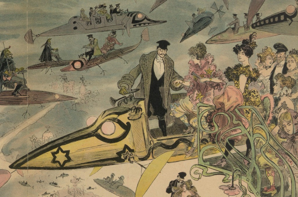 Le Sortie de l'opéra. Air travel over Paris in 2000, as imagined in the late 1800s [detail]