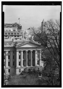 View from White House showing United States Treasury Building with U.S. Capitol in distance - L'Enfant-McMillan Plan of Washington, DC, Washington, District of Columbia, DC. Jack E. Boucher
