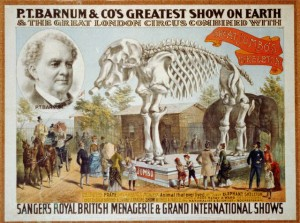 P.T. Barnum & Co.'s greatest show on earth & the great London circus combined with Sanger's Royal British menagerie & grand international shows. The Strobridge Lithograph Company, 1888.
