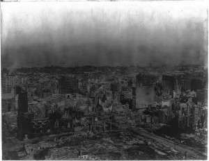 "View ""from the hilltop site of the Fairmont Hotel"" showing ruins after the 1906 San Francisco earthquake. Johannes B. Moller, 1906"