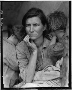 Destitute pea pickers in California. Mother of seven children. Age thirty-two. Nipomo, California. Dorothea Lange, 1936.