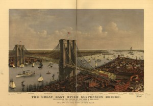 Grand birds eye view of the Great East River Suspension Bridge. Connecting the cities of New York & Brooklyn showing also the splendid panorama of the bay and part of New York. Currier and Ives, 1885.