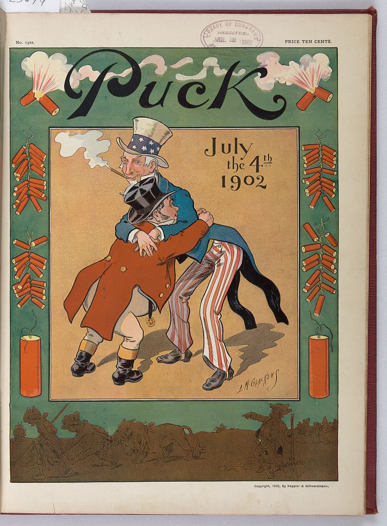 Puck Magazine, July 4th, 1902. Illustration by L.M. Glackens.