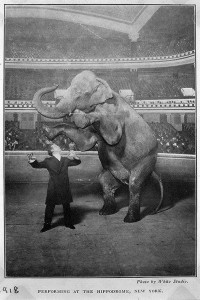 Houdini and Jennie, the elephant, performing at the Hippodrome, New York, 1918