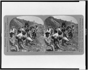 Spanish Laborers at Work on the Panama Canal. Keystone View Company, 1908