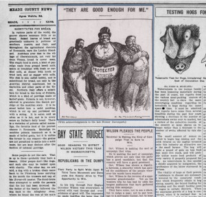 Political cartoon and article from the 1912 presidential election