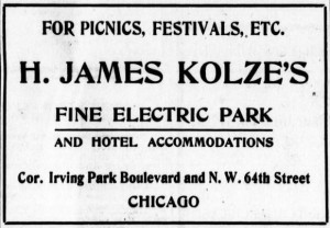 Advertizement for Kolze's Electric Park from Chicago Eagle, September 10, 1904
